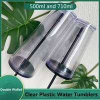 Clear 24oz Plastic Flat Lid Water Tumblers with Black Straw Double Wall Reusable Portable 710ml Office Coffee Mug 16oz Transparent Acrylic Drinking Cups DIY Custom