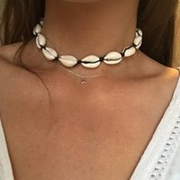 Collana di conchiglia naturale bohémien per donne Cowries Charm Conch Seashell Collar Choker Beach Boho Estate collane collane Collares Y0420
