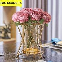 Vases BAO GUANG TA Nordic Metal Iron Geometric Glass Gold Vase Decor Flower Arrangement Modern Home Decoration Creative R5413