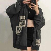 Winter Women's Street Brown Graffiti Print Zip Vintage Tops Hoodie Sweatshirts Hoodies Kawaii Blouse Grunge Y2k Coats Jackets