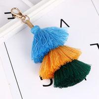 1pcs Handmade Women Colorful Boho Pom Tassel Bag Charm Key Chain Fashion Jewerly Accessory Gifts Party Favor