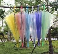 Wedding Favor Colorful Clear PVC Umbrella Long Handle Rain Sun Umbrella See Through Umbrellas