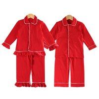 Familia Navidad Pijamas Boys Niñas Niñas Sleepwear Ruffle Frill PJS 100 Algodón Red Pijamas Set 210903