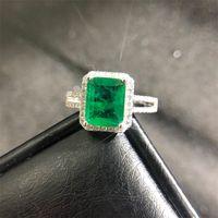 Pansysen Luxo Top Quality Esmeralda Anéis para Mulheres Casamento Anel de Cocktail 100% 925 Esterlina Prata Fine Jóias Presente 763 Q2
