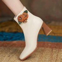Boots Autumn Winter Basic Women Ankle Fashion Concise Genuine Leather Thick High Heels Working Casual Platforms Shoes Woman