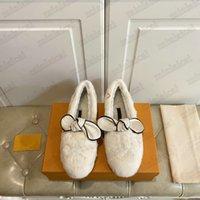 Traumhafte flache Müßiggänger Bowknot Luxurys Designer Dame Slip-on Fuzzy Hausschuhe Flauschige Felz Sandalen Winter Booties Gummi Strand Rutsche Damen Schuhe für Damen