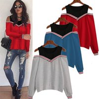 Female Jumper Sweatshirt Off Shoulder Patchwork Hoodies Top Autumn Winter Crew Neck Pullovers Tracksuit Ladies Tops