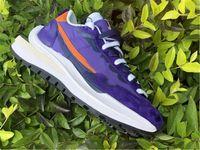 Лучшие аутентичные Sacai Paufwaffle мужские кроссовки темные радужки из костра оранжевые белые кунжуты синие пустоты на открытом воздухе с оригинальной коробкой