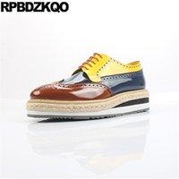 Обувь из натуральной кожи мужская обувь итальянской патентный бренд желтый Wingtip коровы кожи для кожи мода бронга большой размер 11 коричневые Оксфорды Италия