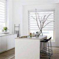 Gråa vita zebra persienner för fönster Premium rullgardiner nyanser Blackout Dag och nattkontroll för hemmakontor Persiana Estores 210722