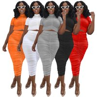 Women's Tracksuit High Summer Elastic Waistband Pleated Dress Suit Designer Short Sleeve Top Tight Skirt Set Ladies Sexy Plus Size Clothing