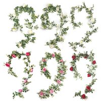 Plantas verdes artificiales que cuelgan Hiedra Hola Hola Rábano Rábano Al Seaweed Uva Fake Flowers Vine Home Garden Pared Fiesta Decoración Decorativa Guirnaldas