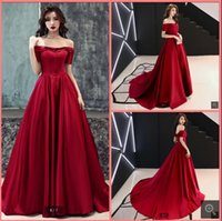 2021 robe de soiree wine satin a line prom dresses off the shoulder vintage v neckline floor length formal evening gowns tube long red carpet elegant party dress