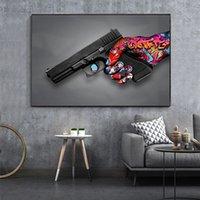 Graffiti Street Art Abstract Pistol Canvas Painting Modern Home Decor Pop Poster Interior Indoor Decoration Mural(No Frame)