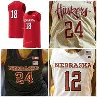 NCAA College Nebraska CornHuskers Basket Blay Jersey 15 Isaia Roby 20 Tanner Borchardt 25 Nana Akenten 33 Justin Costello Cucito personalizzato
