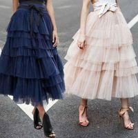 Gonne Donne Vestiti 2021 Gonna in tulle Vintage Tutu Colorful Petticoat Ball Gown Goccia Arrivo