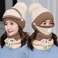 New knitted hat and scarf with mask set for women plus velvet collar thick set for women winter Beret hat for women warm hat and scarf set