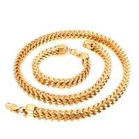 Set di gioielli in oro / argento 8mm largo acciaio inox drago osso figaro collegamento catena di collegamento collana collana set di gioielli set