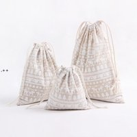 NEWChristmas Gift Bag Cotton Linen Drawstring Bundle Bags Xmas Candy Tea Package Gift Wrap Storage Bag Christmas Decorations ZZD8868