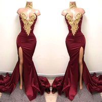 Burgundy Special Occasion Dresses With Gold Lace Appliqued M...