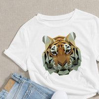 Aesthetic Round Neck Animals Womens T Shirts Tiger Graphic Design Sleeve Personality Creative Breathable