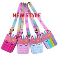 DHL Fidget Pops Sensory Bubble Bretelle Shoulder Bag Cellphone Straps Finger Push Phone Pouch Case Change Coin Purse Decompression Unicorn Toys for Girls Kids