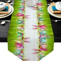 Paskalya Yumurta Tavşan Kulakları Çim Masa Koşucu Düğün Dekor Kek Bezi ve Placemat Tatil 210628