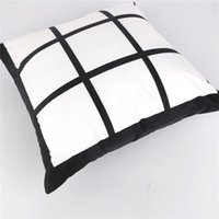 9 Panel de sublimación en blanco Caja de almohada Rejilla negra Poliéster de poliéster Transferencia de calor Cubierta de cojín Sofá Sofá Pillowcasas 40 * 40 cm 570 R2
