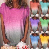 Boutique Summer Plus Size Womens t shirt Gradient Ramp Colorful Ladies T-shirt Short Sleeve