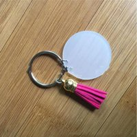 Mode Keychain 4 cm Leere Scheibe mit 3cm Wildleder Quaste Vinyl Keypring Verfügbar MONOLED CLEAR Acryl Schlüsselanhänger Anhänger JJA213