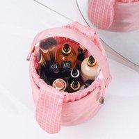 أكياس التجميل الحالات الكورية نمط السفر المحمولة النساء حقيبة ماكياج قدرة كبيرة أدوات الزينة المنظم تخزين برميل شكل الجمال الحقيبة