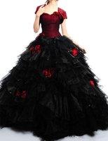 새로운 빨간색과 검은 색 Quinceanera 드레스 일치 자켓 뜨거운 판매 수제 꽃 연인 얇은 명주 그물 졸업 가운 Q100