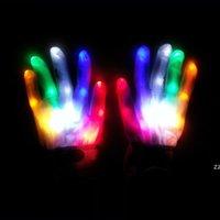 LED Kleurrijke Regenboog Gloeiende Handschoenen Nieuwigheid Hand Bones Stage Magic Finger Toon fluorescerende Dans Knipperende Handschoen HWE9350