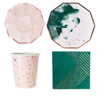 Disposable Dinnerware 8PCS Gold Foil Decagon Chinese Style Green Tableware Set Christmas Wedding Party Paper Plates Cups Napkins Straw
