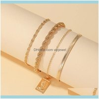 Jewelrypunk Boho Chain Bangles For Women Color Rope Cuban Link Charm Lock Bracelets Fashion Hand Chains Jewelry Drop Delivery 2021 8Vgzd