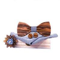 Arco laços gravata de madeira hanky abotoaduras broochs set mulheres bowtie de madeira com caixa moda casamento noivo dobrador esparsage