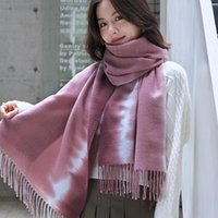 Scarves Tie-dye Printed Scarf Imitation Cashmere Autumn And Winter Striped Fringed Shawl 2021 Ladies Korean Warm