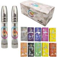 Colori Vape Oil Cartridges 0.8ml serbatoi di vetro Atomizzeri Suggerimento in metallo 510 Cartuccia filettatura Vuota Vuota Carrelli di vaporizzatore Ecigs Box imballaggio penna vaporizzatore