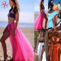 Dans le vent 2021 Beach Bikini Cover Ups Wrap Mesh Jupe Femmes Solid Split Split Maxi Jupes Maillots De Bain Sexy Beachwear Maillots de bain pour femmes