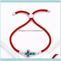 Link, Chain Bracelets Jewelrydesigners Korean Fashion Exquisite Color Shell Zircon Red Rope Simple Personality Cross Adjustable Bracelet Dro
