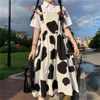 Qweek inek baskı süt güneş japon harajuku tarzı sevimli kawaii lolita kıyafet mori irl elbiseler