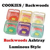 Cookies Runtz Backwoods Aschenbecher Leuchtquadrat Transparent Glas Glas Zigarette Mülleimer Dose Tabak Rauchen Trockene Kräuterzubehör