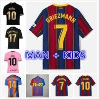 20 21 Barca Futebol Jerseys Messi Kit de futebol Camisa Griezmann F. de Jong Suarez Dembele Coutinho Ansu Fati Dest Braithwaite Camiseta Futbol Maillots Pé