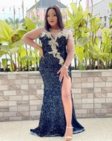 2021 Plus Size Arabic Aso Ebi Black Mermaid Sexy Prom Dresses Sheer Neck Lace Beaded Crystals Evening Formal Party Second Reception Bridesmaid Gowns Dress ZJ506