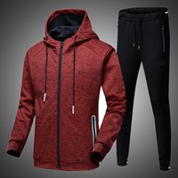 Men's Tracksuits Fashion Winter Men Hooded Sweatshirts Set 2021 Outdoor Casual Running Sportswear Mens Hoodies Pants Two-piece Tracksuit Sui