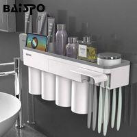 BAISPO Manyetik Adsorpsiyon Diş Fırçası Tutucu Ile 4 Bardak Duvara Monte Banyo Depolama Raf Durumda Banyo Aksesuarları Seti SH190919