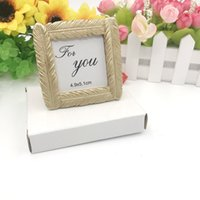 Golden Feather Photo Frame Seat Clip Matrimonio Forniture di nozze Originalità Cerimonia Cerimonia Gift Picture Cornici Creative Greom Bride ZWL447