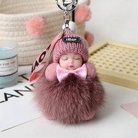 키 체인 귀여운 봉제 키 체인 잠자는 아기 인형 KPOP 액세서리 Pompom Keyring 장난감 Kawaii 가방 펜던트