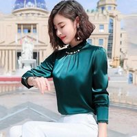 Fashion Womens Tops And Blouses Beading Stand Collar Ladies Office Blouse 5xl Plus Size For Women Chiffon Long Sleeve Shirts Women's &
