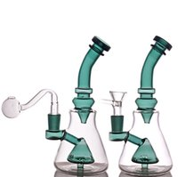 Dab Oil Rigs bong 8 inches with 14mm female Joint Recycler Glass Bong smoking Water Pipes with glass oil burner pipe and tobacco bowl 1pcs